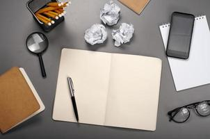 Open notebook with blank pages photo
