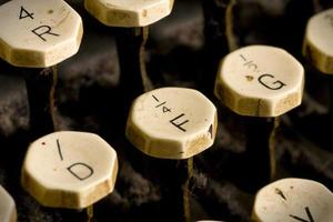 Old typewriter keys focused on the F
