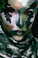 Beautiful young fashion woman with military style clothing and face photo