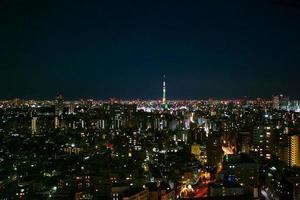 vista nocturna de tokio foto