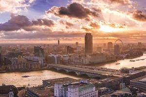 Panoramic skyline of south and west London at sunset photo