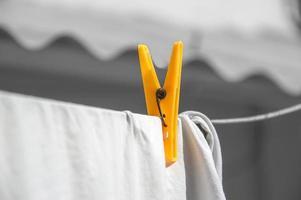 Plastic clip on white cloth