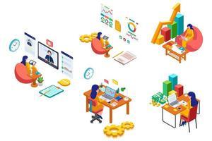 conjunto de actividades de mujer de negocios