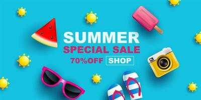Summer Sale Banner with Items on Blue vector