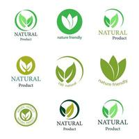 Green natural product logo or label set vector