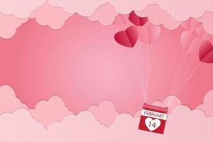 Heart shaped Valentine's balloons and pink clouds vector