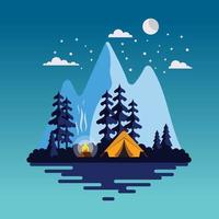 Summer camp landscape at night vector