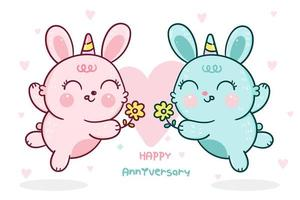 Rabbits with horns giving flowers for anniversary