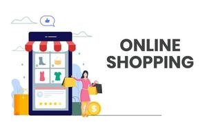 mujer feliz de compras online
