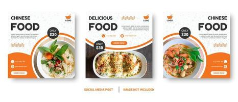 banners quadrados de comida laranja e branca para mídias sociais