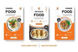 banners verticais de alimentos laranja e branco para mídias sociais