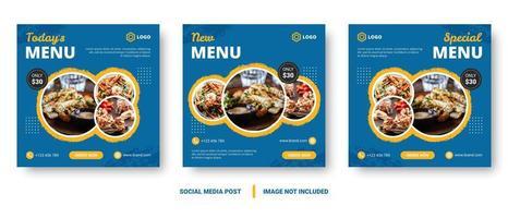 banners de comida azul quadrado para mídias sociais