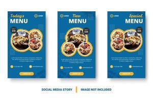 banners verticais de comida azul para mídias sociais