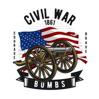 Civil War cannon in front of American Flag vector