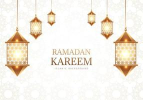 Ramadan Kareem decorative arabic lamps on white pattern
