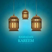 Ramadan Kareem card with lanterns on blue pattern