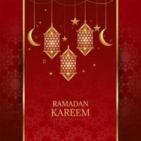 Golden Arabic hanging lantern, moon and stars on red
