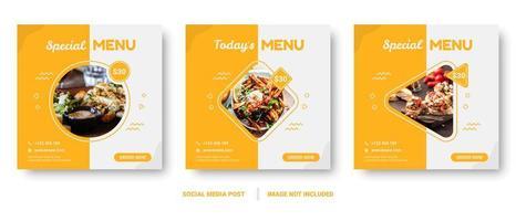 banners de comida de forma geométrica quadrada para mídias sociais