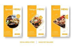 banners de comida de forma geométrica vertical para mídias sociais