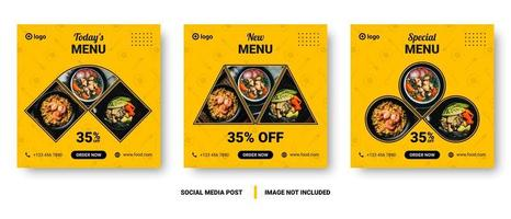 banners de comida de mídia social de imagem múltipla quadrada