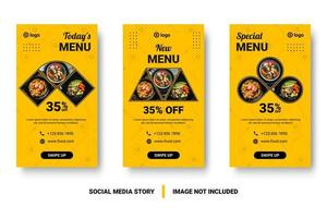 banners de comida de mídia social vertical de várias imagens