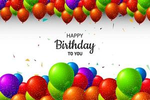 Multicolored Birthday Balloons Background with Glitter vector