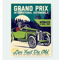 Classic car race poster with skeleton driver vector