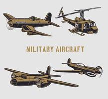 Military aircraft set vector