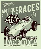 Antique racer poster in green tones vector