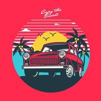 Retro sunset and car design vector