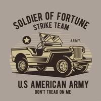 design retro com veículo do exército vintage