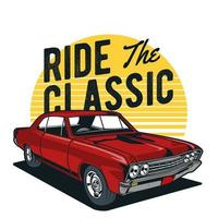 Red classic muscle car design