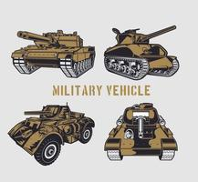 Brown military tank set vector