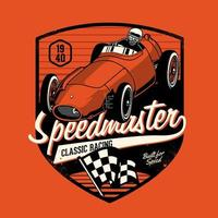 Classic racing car in shield shape vector