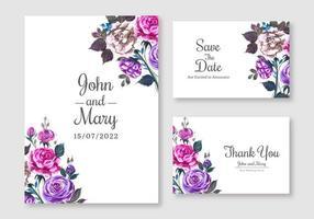 conjunto de cartão de casamento floral roxo e rosa elegante
