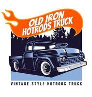 cartel clásico de camión hot rod azul vector