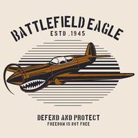 Brown battlefield airplane emblem vector