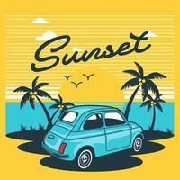 Retro design with car on island