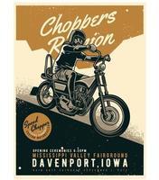 cartaz de corrida de moto em estilo vintage vetor