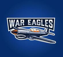 Classic war airplane emblem on blue vector