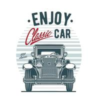 Front view of vintage car on retro background