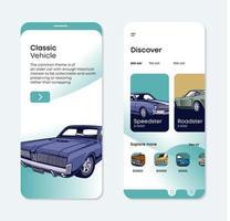 Classic car mobile UI vector