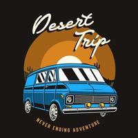 Blue van in desert retro emblem