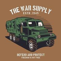 Military transportation truck on brown vector