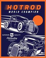 Blue and orange hot rod poster