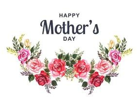 Mother's Day Card with Watercolor Flower Wreath