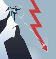 Business man attached to down arrow climbing mountain vector