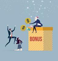 Boss Santa giving employees their bonus