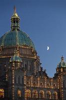 Parliament Building Moon, Victoria, BC photo