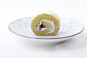 pastel de rollo de té verde